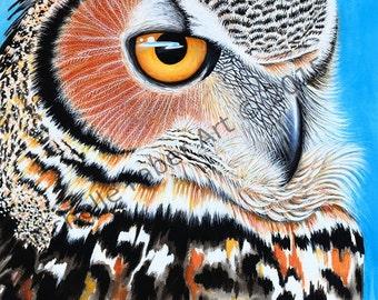 Great Horned Owl Watercolor Print//Painting,art,nature,wildlife,animals,animal art,owls,feathers,orange,blue,birds,eyes,wild,nursery,travel