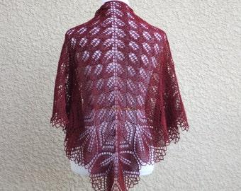 Knit shawl, wedding shawl, bridal shawl, lace shawl, lace wrap in garnet red marsala, gift for her