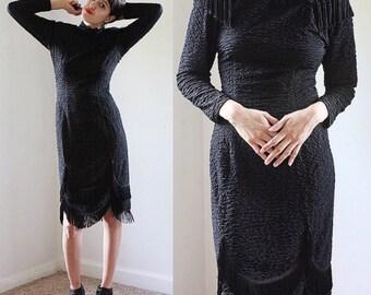Vintage Black Avant Garde Fringe Dress XS-S