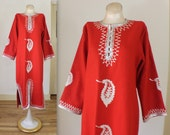 Red Caftan /Festive Embroidered Maxi / Vintage Silver and Rouge Wool Dress