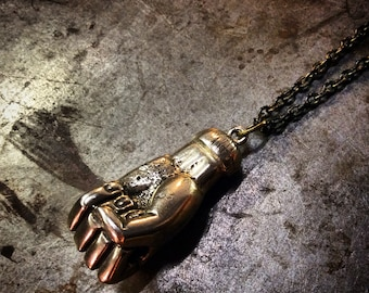 Heyltje ROse Hand Cast Hand FIST with Nunchucks Throwing StaR or bare FisticuFFs NinJa necklace