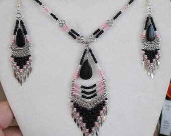 SALE Native American Style Beaded Black White Pink with Black Onyx Stone Statement Necklace Southwestern Hippie Boho Ready to Ship