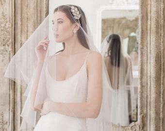 Drop Wedding Veil, Cut edge Wedding Veil, drop bridal veil, drop veil, circle veil, drop veil, white veil, ivory veil, off white veil