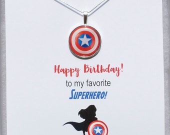 Captain America Birthday Card Shield Necklace, Avengers necklace, Avengers jewelry, Captain America Birthday Card, Superhero Birthday Gift