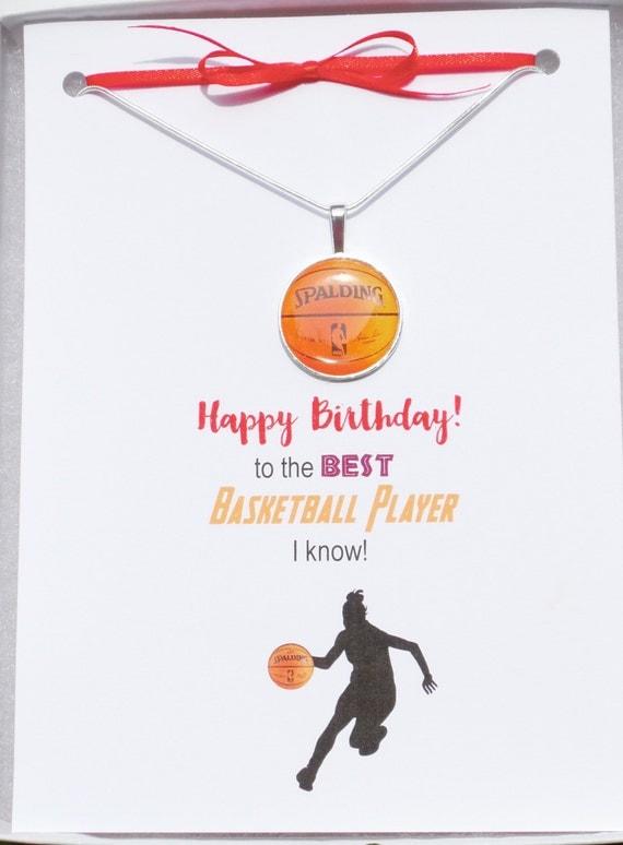 items similar to basketball necklace, basketball birthday card, Birthday card