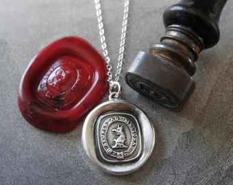 Wax Seal Necklace Always Towards Better Things - Griffin wax seal jewelry antique Latin motto by RQP Studio