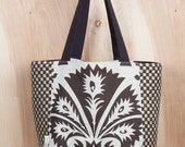 Modern Jacobean Tote Bag- Christmas Present- Canvas Tote bag- Cotton and Jute Tote- Brown and Natural Tote- by beckyzimmdesign