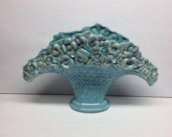 Royal Haeger Turquoise Fan Vase  Flower Basket Vase 1950's Absolutely lovely