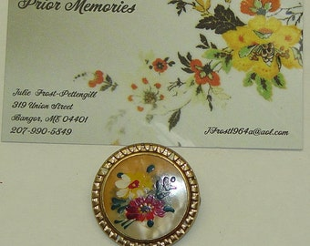 Vintage Brooch Hand Painted Fibula Jewelry 1 inch round
