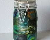 Large Glass Stash Jar, Latch-Top: Shades of Green Patchwork
