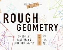Handmade Image & Brush Pack - Rough Geometry - Digital Download, clip art, geometric, simple, photoshop brush, digital stamp, scrapbook