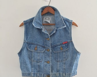 Vintage 80's Crop Denim Vest / Light Wash Jean Vest S