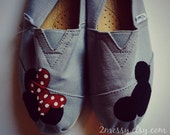 "SIZE 8 - ""Mickey & Minnie"" Canvas Toms Shoes"