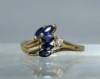 Vintage Ring Blue Sapphire and Diamond 14k Gold Ring Signed Romanza Yellow Gold Size 7 Gift Idea For Her DanPickedMinerals