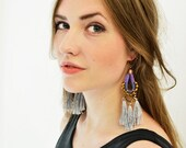 Large Hippie Earrings, Royal Blue and Grey, Boho Drop Earrings, Aztec Style Earrings, Long Earrings, Tribal Earrings, Grey Tassels