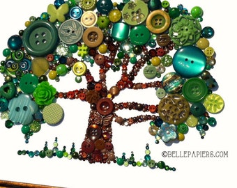 11x14 Button Art Tree of Life Button Art with Swarovski Rhinestones Button Oak Tree big tree southern oak forest woods