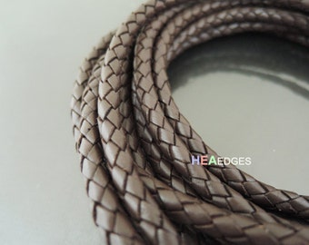 Leather Cord 5mm - Brown Round Braided Bolo Genuine Leather Cord ( Hole Inside )