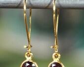 SALE Garnet Earrings - January Birthstone Earrings - Garnet Jewelry - Gold Garnet Earrings - Red Garnet Earrings - January Birthstone Jewelr