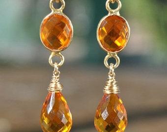 SALE Citrine Earrings - November Birthstone Earrings - Drop Earrings - Dangle Earrings