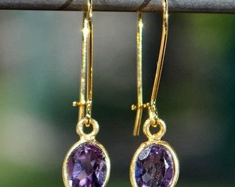 SALE Amethyst Earrings - Purple Amethyst Earrings - Gold Amethyst Earrings - Amethyst Jewelry - February Birthstone Earrings