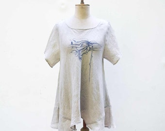 unique hand painted poppy linen blouse, white hemp tunic M size fashion design, natural eco wearable art to wear flax burlap woman small 314