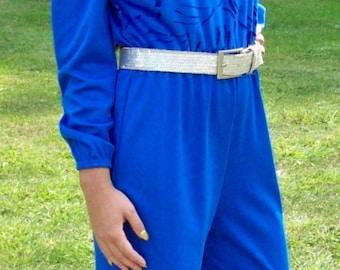 Vintage 1970s Ladies Royal Blue Jumpsuit by Blair Medium Disco Only 10 USD