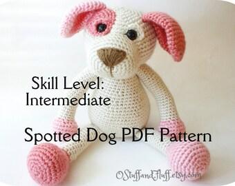 PATTERN- Spotted Dog PDF Pattern, amigurumi Dog, crochet Dog, INTERMEDIATE crochet animal