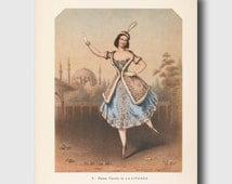 "Ballerina Artwork, Cottage Chic Wall Decor, Vintage Ballet Print, 1940s Lithograph ""La Lituana""--  No. 8"