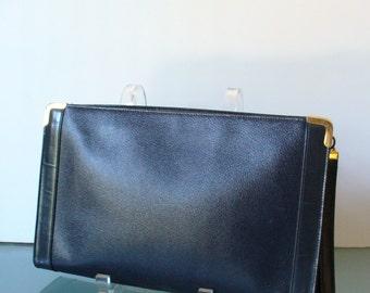 Vintage Koret Navy Blue Leather Clutch With Strap