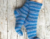 Wool striped socks, unisex midcalf socks