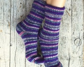 Woolen knit socks, unisex knitted socks with stripes