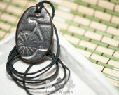 Silver Matte Oval Bicycle Essential Oil Diffuser Necklace | Lisa C. Warren | Handmade | Aromatherapy Natural Medicine