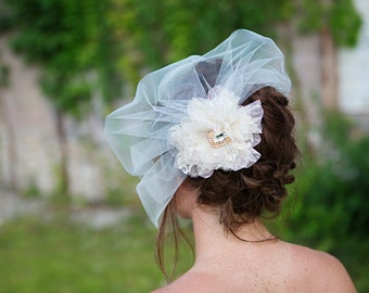 Ivory Swiss Dot Flower and Veil, Birdcage Veil in Tulle - Removable Veil, Bridal Flower Clip - Duo - FA187
