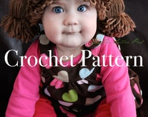 Cabbage Patch Kid Inspired Hat Crochet PATTERN for sizes Baby through Adult