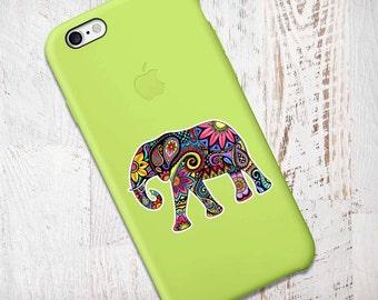 Mini Elephant Sticker Phone Decal Colorful Laptop Decal Small Elephant iPhone Sticker Jungle Flowers Cute Car Decal Hippie Boho Tribal Art