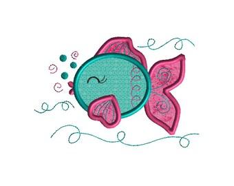 Cute Fish Applique Machine Embroidery Design-INSTANT DOWNLOAD