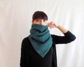 Women's gift, Cowl scarf, herringbone scarf, peacock scarf, unisex scarf, women's scarf, green shawl, green scarf, green neckwarmer