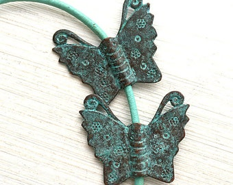 Metal Butterfly pendant, Verdigris Green patina, Butterfly copper charms, metal butterfly bead, Lead Free - 2Pc - F290