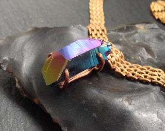 Titanium Quartz Shard Necklace - Brass