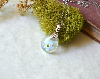 Forget Me Not Real Pressed Flower Teardrop Resin Pendant