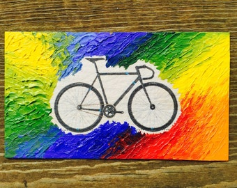 Rainbow Bright Bicycle Oil Hand Painted Magnet ACEO