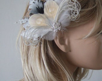 """Black Silver White Cream Ombre Fascinator Nagoire Peacock Feathers Clip """"Lily"""" Bridal Prom Bridesmaids Boho Rustic Natural Wedding Theme"""