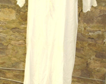 EARLY 1900's COTTON NIGHTGOWN dress under layer M L