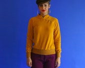 velour pullover sweater/ mustard velvet pullover high collar shirt/1970's/ small - medium