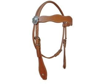 West Coast Tack Basic Harness Leather Headstall Scallop Browband Western Horse