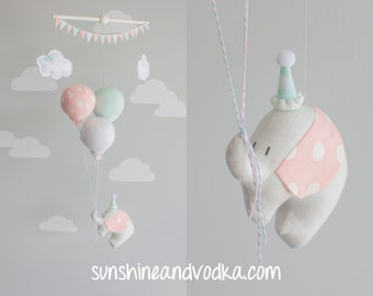 Elephant and balloon baby mobile, travel theme nursery décor, Mint Pink and Gray, i118