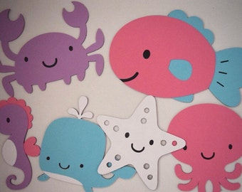 Under the sea animals die cuts/Cupcake toppers/Centerpieces