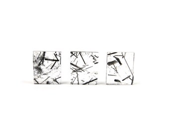 Tourmalinated Quartz Crystal 1 Rectangle Slice 12mm x 10mm Black Tourmaline Included Stone For Jewelry Making (Lot C24) Cabochon