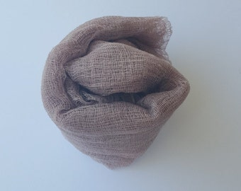 Taupe Newborn Cheesecloth Hand Dyed Boy Girl Photo Prop Dyed Upon Order