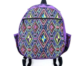 Purple Backpack With Ethnic Pattern Embroidered Fabric Thailand (BG125-3C2)